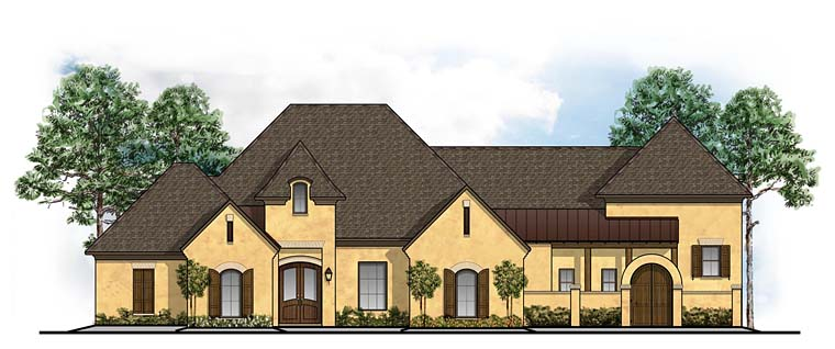 European, Mediterranean, Southern House Plan 41648 with 5 Beds, 5 Baths, 3 Car Garage Front Elevation