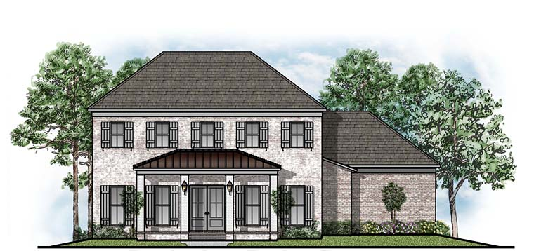 Colonial, Southern, Traditional House Plan 41655 with 5 Beds, 4 Baths, 3 Car Garage Elevation