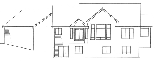 European, One-Story, Ranch, Traditional House Plan 42012 with 4 Beds, 3 Baths, 3 Car Garage Rear Elevation