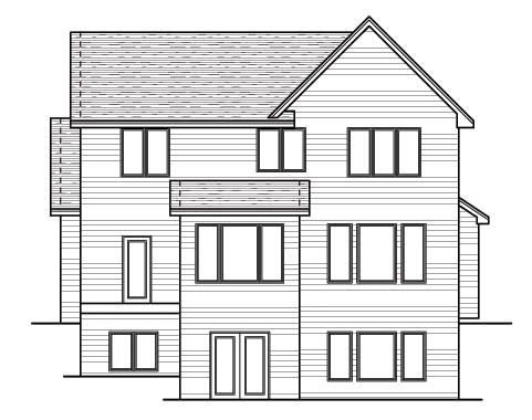 Craftsman, European, Narrow Lot, Traditional House Plan 42053 with 3 Beds, 3 Baths, 2 Car Garage Rear Elevation