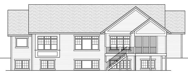 Craftsman, Traditional House Plan 42505 with 2 Beds, 2 Baths, 3 Car Garage Rear Elevation
