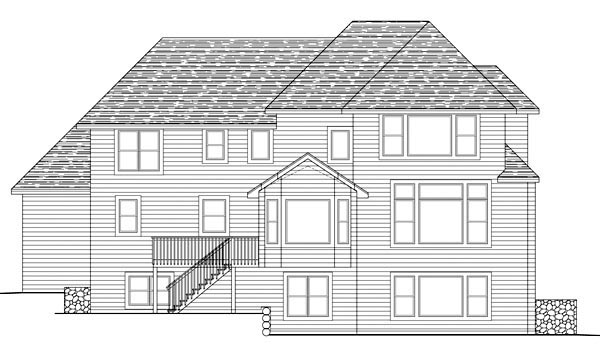 Traditional House Plan 42583 with 4 Beds, 4 Baths, 3 Car Garage Rear Elevation