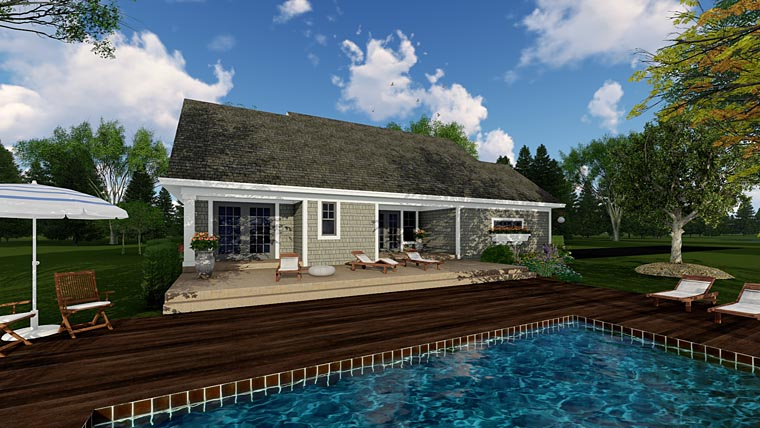 Bungalow, Cottage, Craftsman, Traditional House Plan 42618 with 3 Beds, 2 Baths, 2 Car Garage Rear Elevation