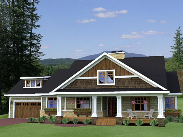 Craftsman, Traditional House Plan 42619 with 3 Beds, 3 Baths, 2 Car Garage Elevation