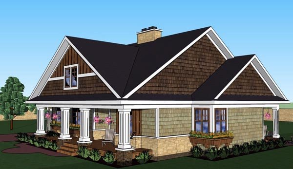 Craftsman, Traditional House Plan 42619 with 3 Beds, 3 Baths, 2 Car Garage Picture 1