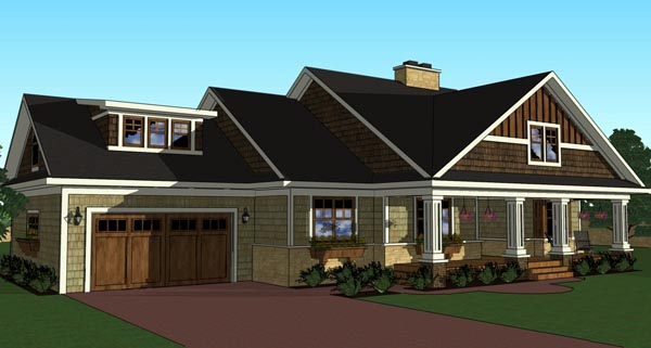 Craftsman, Traditional House Plan 42619 with 3 Beds, 3 Baths, 2 Car Garage Picture 2