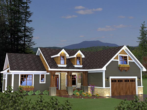 Craftsman House Plan 42624 with 3 Beds, 2 Baths, 2 Car Garage Front Elevation