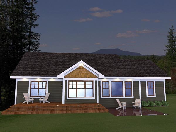 Craftsman House Plan 42624 with 3 Beds, 2 Baths, 2 Car Garage Rear Elevation