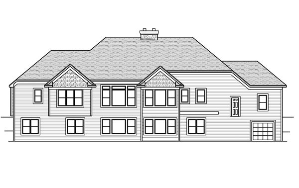 House Plan 42644 with 2 Beds, 3 Baths, 4 Car Garage Rear Elevation