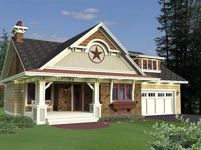 Craftsman, European House Plan 42651 with 3 Beds, 2 Baths, 2 Car Garage Front Elevation