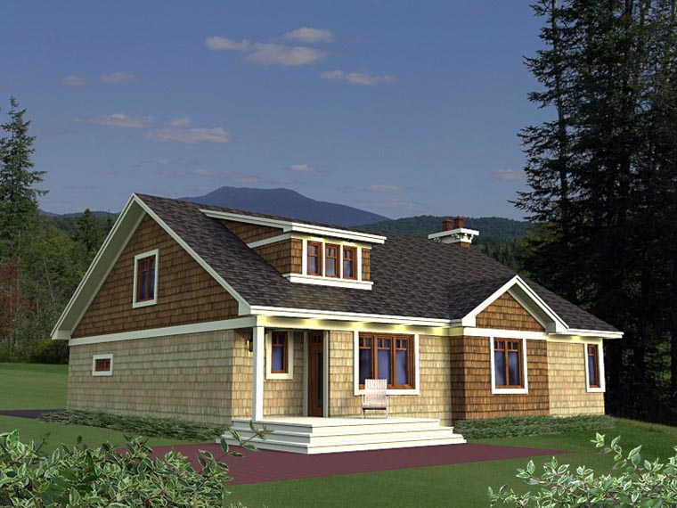 Craftsman, European House Plan 42651 with 3 Beds, 2 Baths, 2 Car Garage Rear Elevation