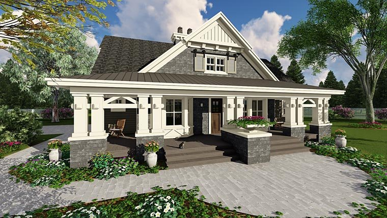 Craftsman House Plan 42653 with 3 Beds, 3 Baths, 2 Car Garage Elevation