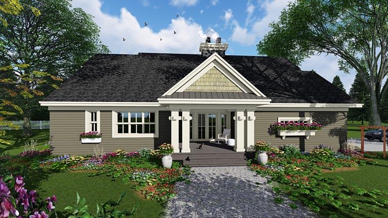 Craftsman House Plan 42653 with 3 Beds, 3 Baths, 2 Car Garage Rear Elevation