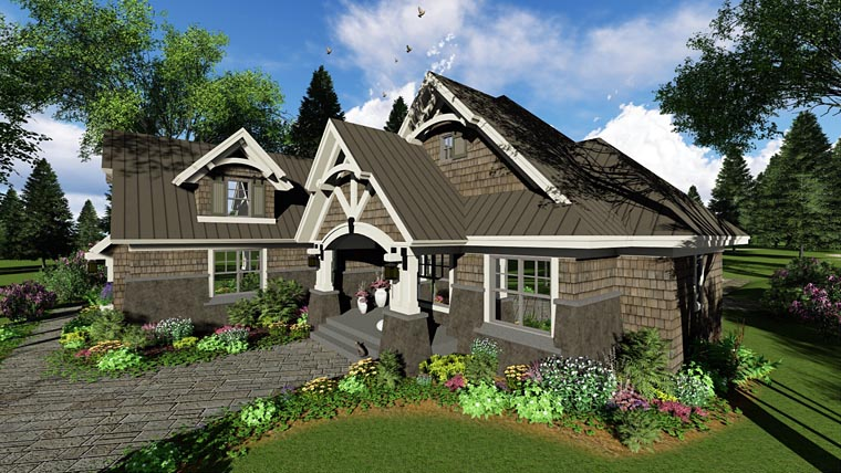 Bungalow, Cottage, Craftsman, French Country, Tudor House Plan 42676 with 4 Beds, 3 Baths, 2 Car Garage Picture 1
