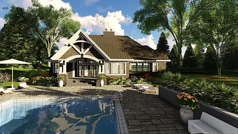 Bungalow, Cottage, Craftsman, French Country, Tudor House Plan 42676 with 4 Beds, 3 Baths, 2 Car Garage Picture 3