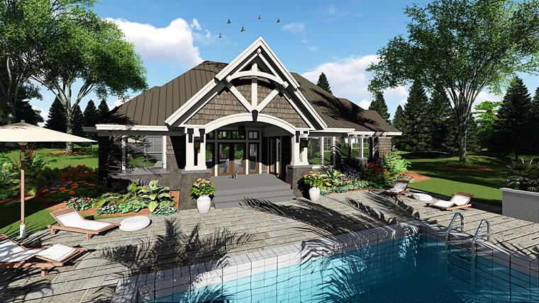 Bungalow, Cottage, Craftsman, French Country, Tudor House Plan 42676 with 4 Beds, 3 Baths, 2 Car Garage Rear Elevation