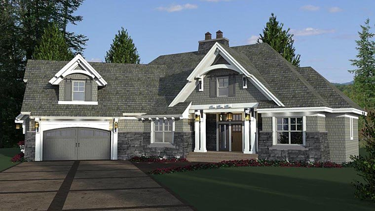 Bungalow, Cottage, Craftsman, French Country, Tudor House Plan 42679 with 4 Beds, 3 Baths, 2 Car Garage Picture 1