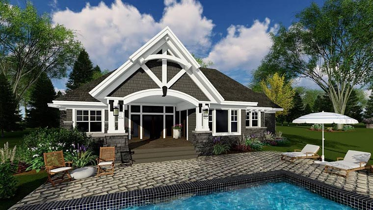 Bungalow, Cottage, Craftsman, French Country, Tudor House Plan 42679 with 4 Beds, 3 Baths, 2 Car Garage Rear Elevation