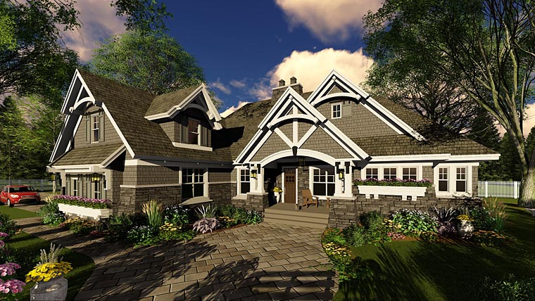 Bungalow, Cottage, Country, Craftsman, Tudor House Plan 42680 with 3 Beds, 3 Baths, 2 Car Garage Elevation