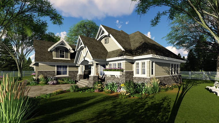 Bungalow, Cottage, Country, Craftsman, Tudor House Plan 42680 with 3 Beds, 3 Baths, 2 Car Garage Picture 1