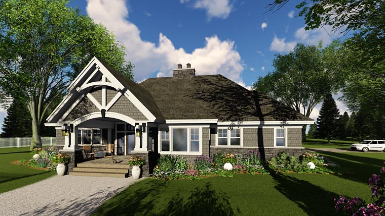 Bungalow, Cottage, Country, Craftsman, Tudor House Plan 42680 with 3 Beds, 3 Baths, 2 Car Garage Picture 4