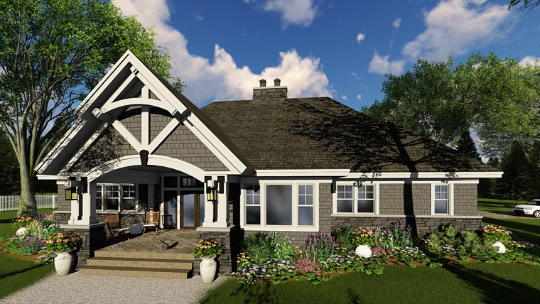 Bungalow, Cottage, Country, Craftsman, Tudor House Plan 42680 with 3 Beds, 3 Baths, 2 Car Garage Picture 5