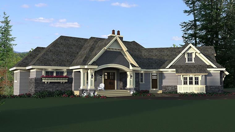 Bungalow, Craftsman, European House Plan 42681 with 4 Beds, 4 Baths, 4 Car Garage Elevation