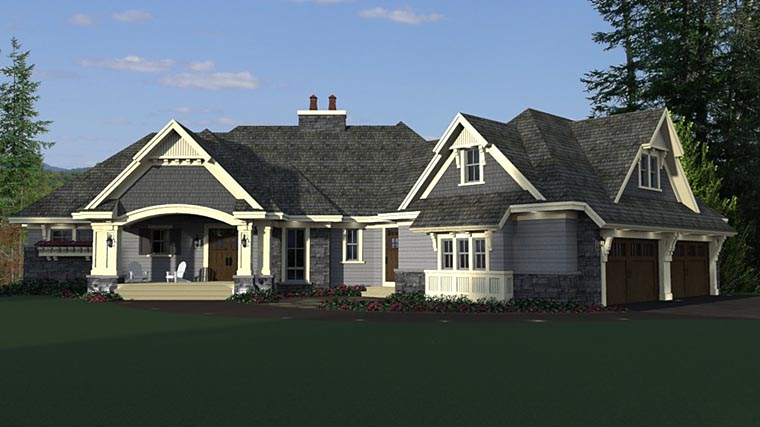 Bungalow, Craftsman, European House Plan 42681 with 4 Beds, 4 Baths, 4 Car Garage Picture 1