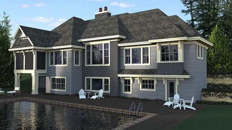Bungalow, Craftsman, European House Plan 42681 with 4 Beds, 4 Baths, 4 Car Garage Rear Elevation