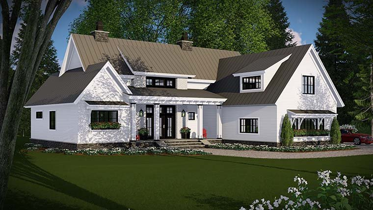 Country, Farmhouse, Traditional Plan with 2528 Sq. Ft., 4 Bedrooms, 3 Bathrooms, 3 Car Garage Picture 2