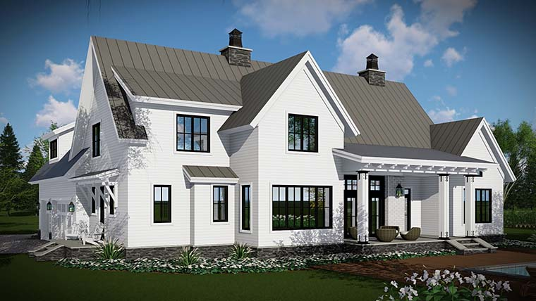 Country, Farmhouse, Traditional Plan with 2528 Sq. Ft., 4 Bedrooms, 3 Bathrooms, 3 Car Garage Picture 3