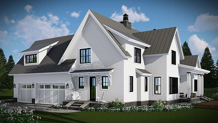 Country, Farmhouse, Traditional Plan with 2528 Sq. Ft., 4 Bedrooms, 3 Bathrooms, 3 Car Garage Picture 4