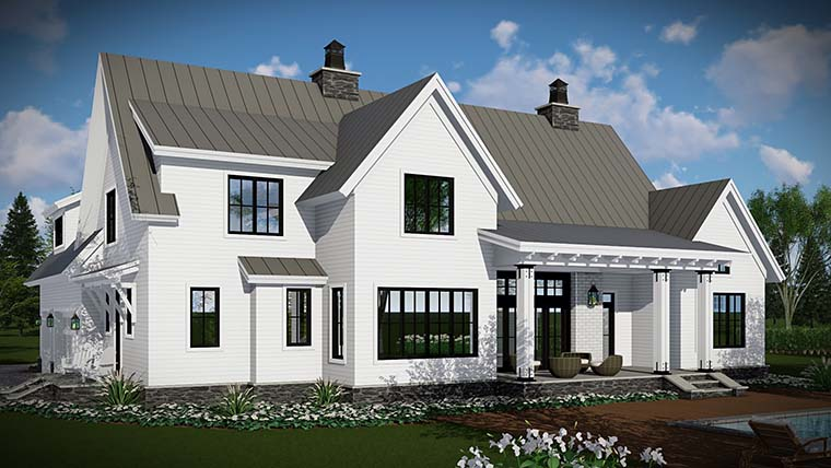Country, Farmhouse, Traditional Plan with 2528 Sq. Ft., 4 Bedrooms, 3 Bathrooms, 3 Car Garage Picture 5