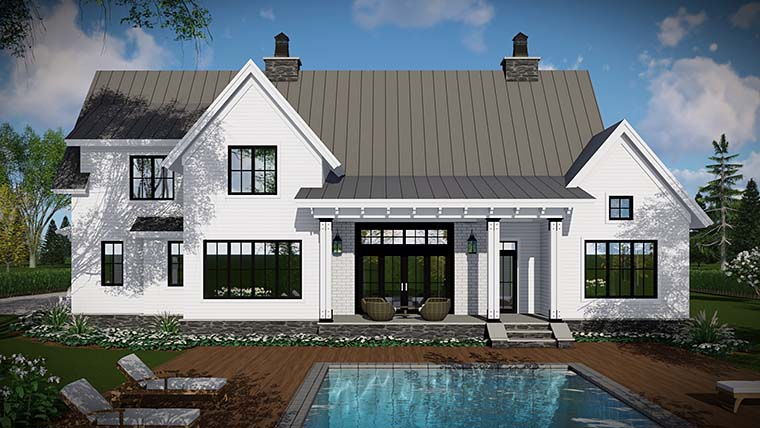 Country, Farmhouse, Traditional Plan with 2528 Sq. Ft., 4 Bedrooms, 3 Bathrooms, 3 Car Garage Rear Elevation