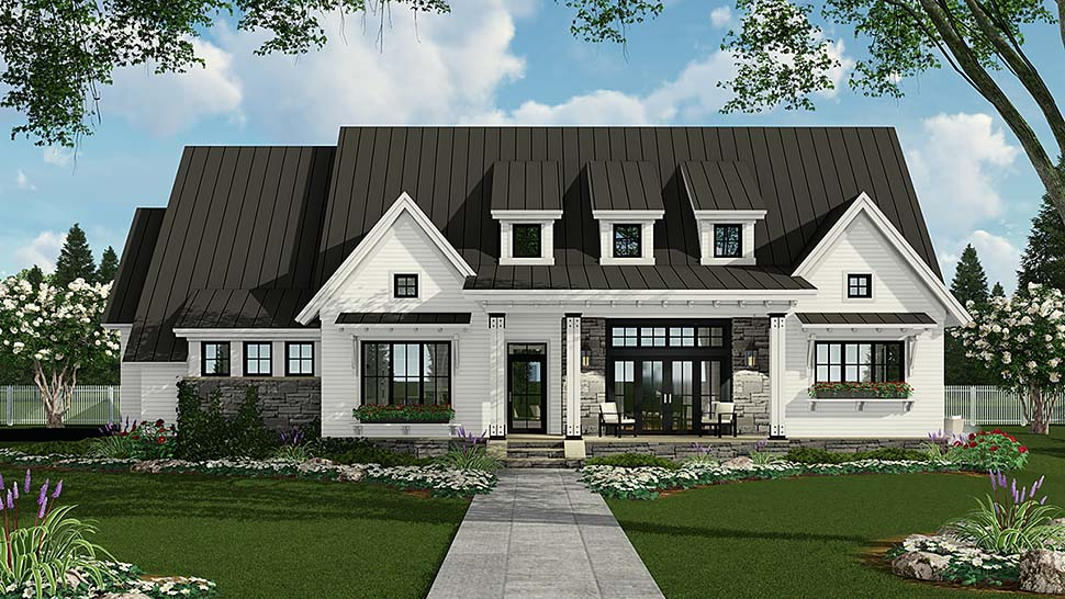 Country, Farmhouse, Traditional House Plan 42691 with 3 Beds, 3 Baths, 2 Car Garage Front Elevation