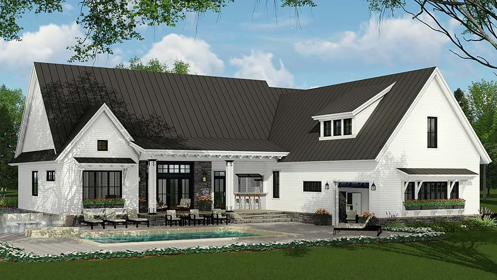 Country, Farmhouse, Traditional Plan with 2287 Sq. Ft., 3 Bedrooms, 3 Bathrooms, 2 Car Garage Rear Elevation