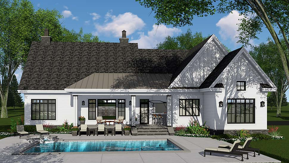 Country, Craftsman, Farmhouse, Traditional House Plan 42695 with 3 Beds, 3 Baths, 2 Car Garage Rear Elevation