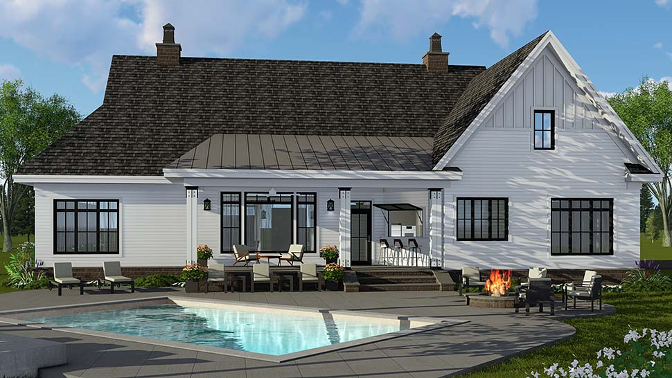 Country, Craftsman, Farmhouse House Plan 42697 with 4 Beds, 4 Baths, 2 Car Garage Rear Elevation