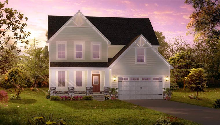 Cottage, Craftsman, Traditional House Plan 42817 with 4 Beds, 3 Baths, 2 Car Garage Elevation