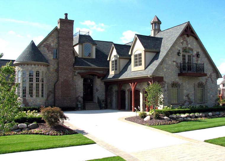 European, French Country, Tudor House Plan 42820 with 4 Beds, 4 Baths, 3 Car Garage Elevation