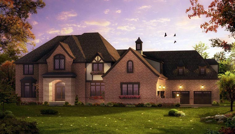 European, French Country, Tudor House Plan 42824 with 4 Beds, 5 Baths, 5 Car Garage Elevation