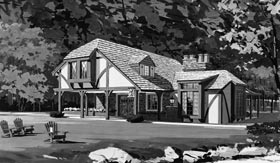 Tudor House Plan 43003 with 2 Beds, 2 Baths Elevation