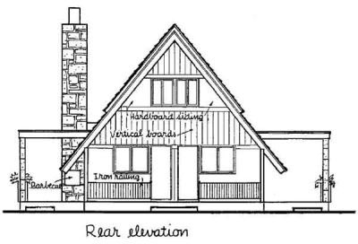 A-Frame, Cabin, Contemporary House Plan 43048 with 3 Beds, 2 Baths Rear Elevation