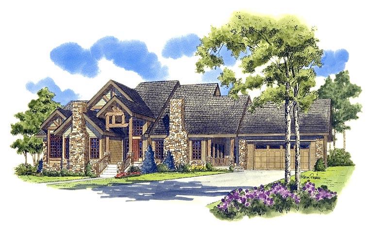 Craftsman, Ranch, Tudor House Plan 43200 with 3 Beds, 3 Baths, 2 Car Garage Elevation