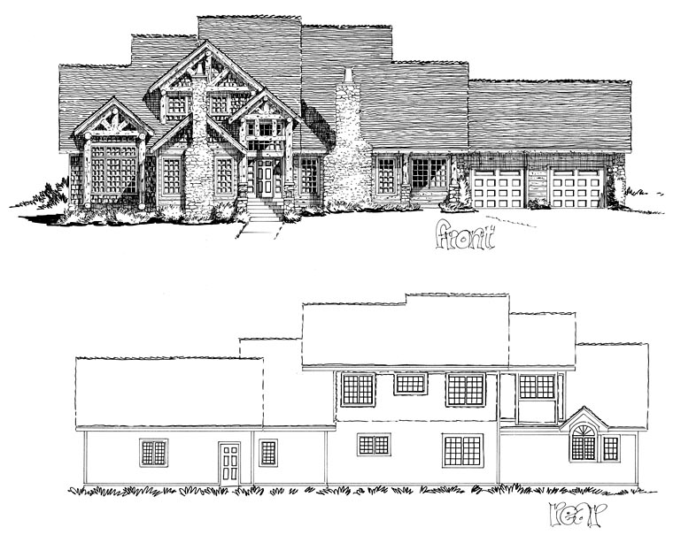 Craftsman, Ranch, Tudor House Plan 43200 with 3 Beds, 3 Baths, 2 Car Garage Picture 1