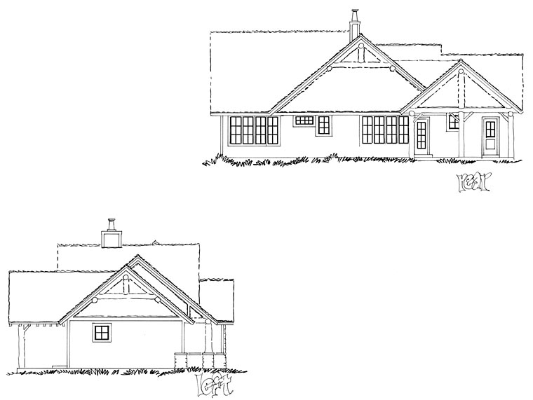 Cabin, Craftsman, Tudor House Plan 43201 with 4 Beds, 3 Baths Picture 3