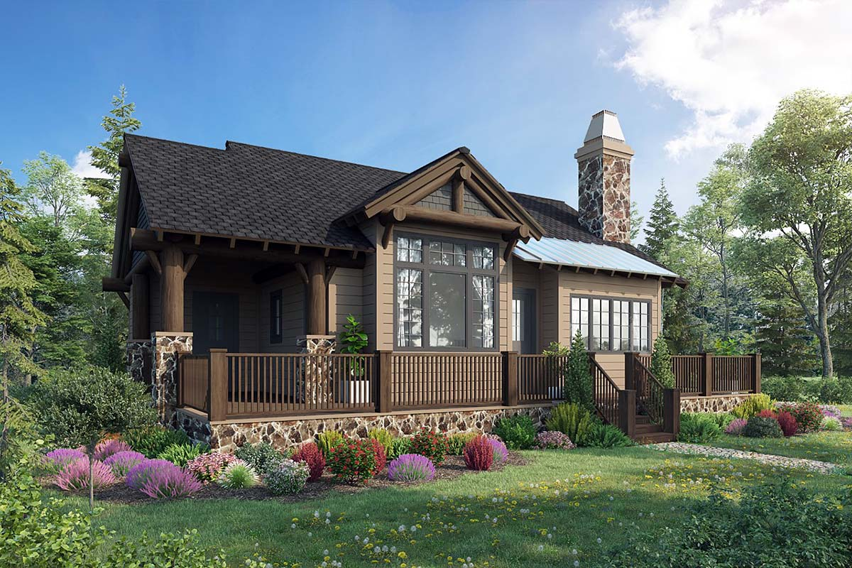 Cabin, Cottage, Craftsman House Plan 43204 with 2 Beds, 2 Baths Elevation