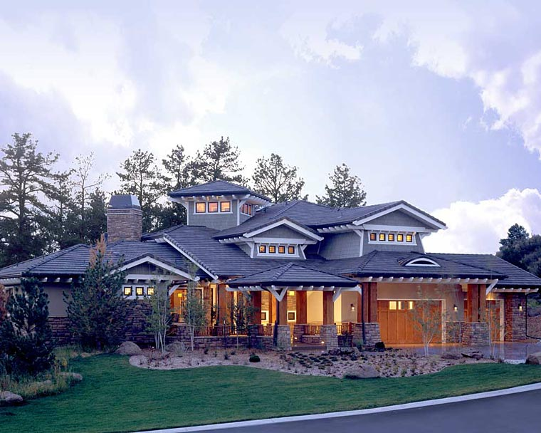 Craftsman, Prairie, Southwest House Plan 43205 with 5 Beds, 7 Baths, 3 Car Garage Elevation