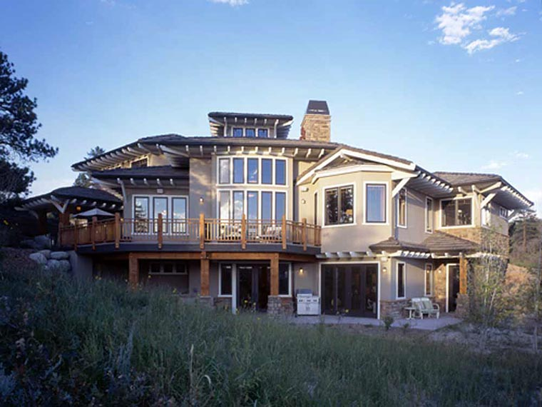 Craftsman, Prairie, Southwest House Plan 43205 with 5 Beds, 7 Baths, 3 Car Garage Rear Elevation