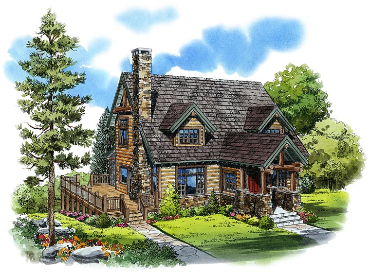 Cabin, Cape Cod, Country House Plan 43206 with 3 Beds, 3 Baths Front Elevation